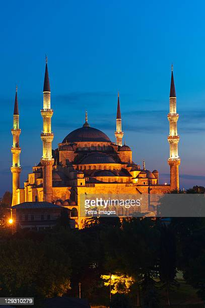 Turkey, Istanbul, Haghia Sophia illuminated at dusk