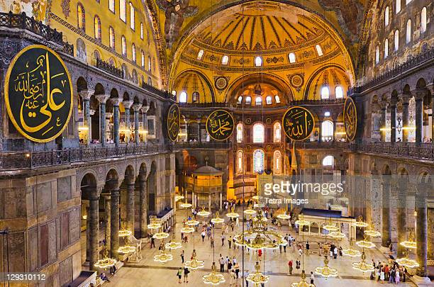 turkey, istanbul, haghia sophia mosque interior - hagia sophia stock pictures, royalty-free photos & images