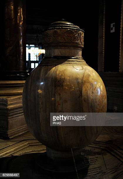 Turkey Istanbul Hagia Sophia Alabaster urn for the ablutions Central nave