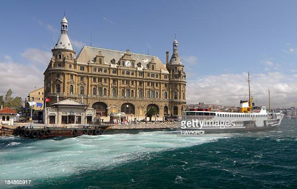 turkey, istanbul haydarpasa terminal and a ferry - haydarpasa stock photos and pictures