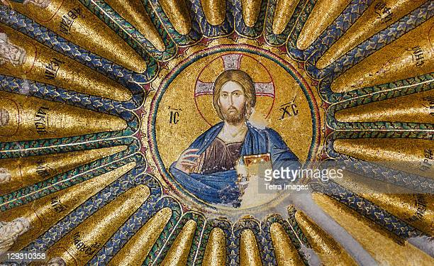 turkey, istanbul, kariye museum, jesus christ, fresco - kariye museum stock pictures, royalty-free photos & images