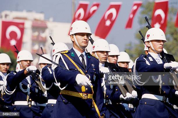 mitliary parade for the 81th anniversary of the Turkey The Turkish flag