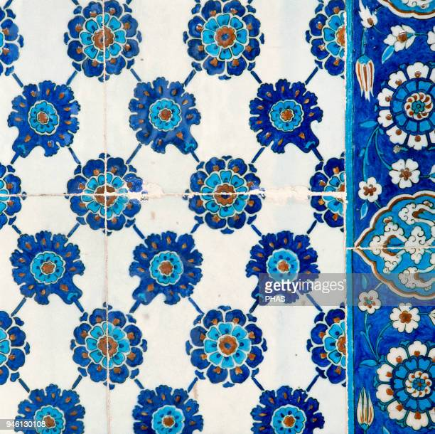 Turkey Istanbul Mosque of Rusten Pasha Ottoman style Ceramic tiles Detail 16th century