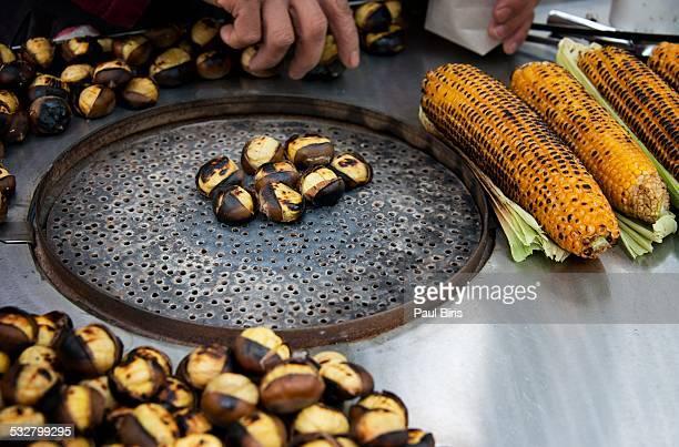 Turkey, Istanbul,  roasted chestnut and corn