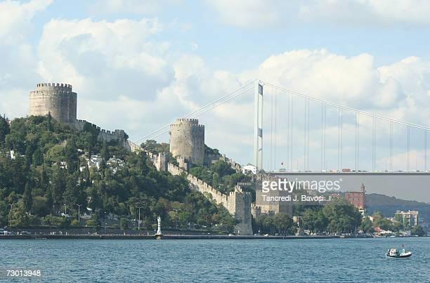 turkey, istanbul, rumeli hisari castle at dawn - bavosi stock pictures, royalty-free photos & images
