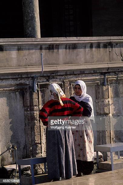 Turkey Istanbul Suleymaniye Mosque Women Getting Water