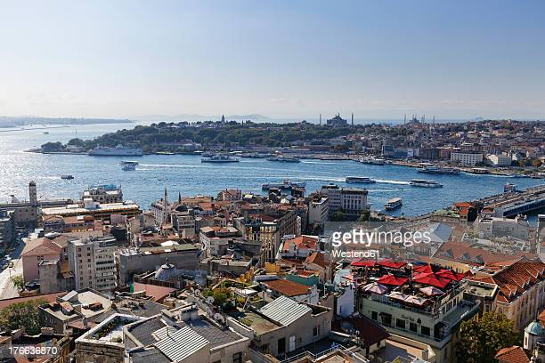 Turkey, Istanbul, View from Galata Tower to Golden Horn