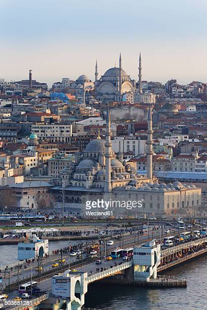 Turkey, Istanbul, View from Galata-Tower to Galata bridge and New Mosque