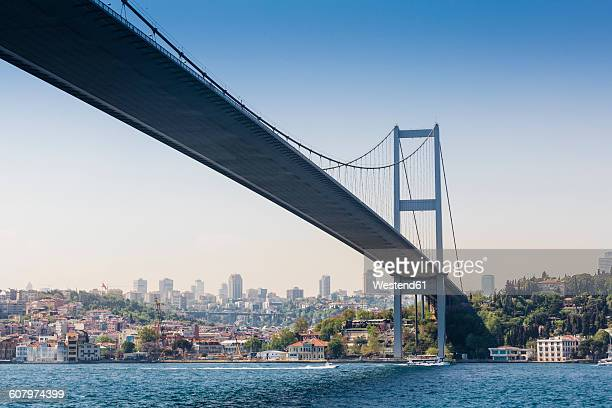 turkey, istanbul, view to bosphorus bridge - istanbul stock photos and pictures