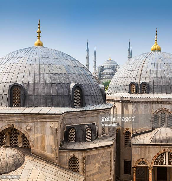 Turkey, Istanbul, view to Haghia Sophia and Sultan Ahmed Mosque