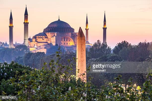 Turkey, Istanbul, view to Haghia Sophia at twilight