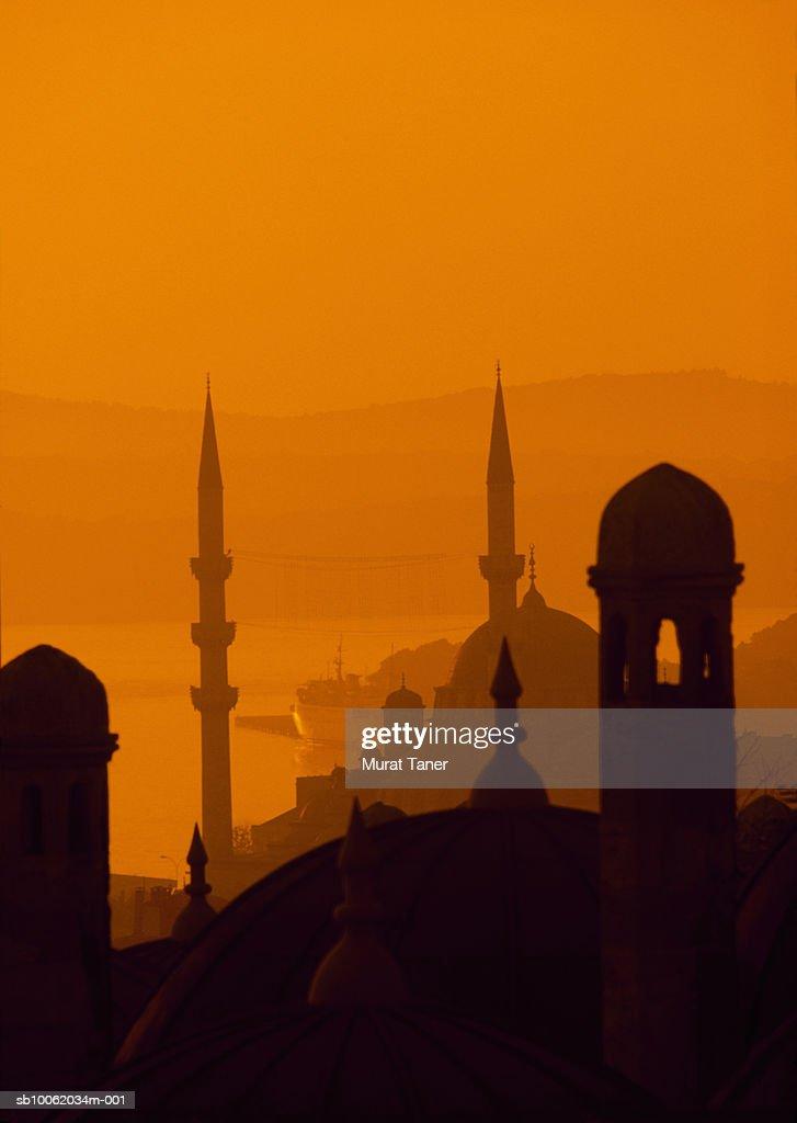 Turkey, Istanbul. Yeni Mosque (New Mosque) at sunrise. : Stock Photo