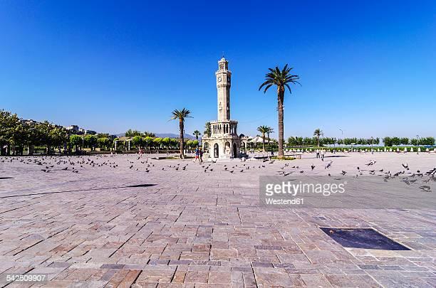 turkey, izmir, aegean region, konak square, clock tower, izmir saat kulesi - イズミル ストックフォトと画像