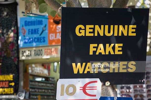 Turkey Izmir Province Selcuk Ephesus Sign advertising Genuine Fake Watches and ten Euro price ticket
