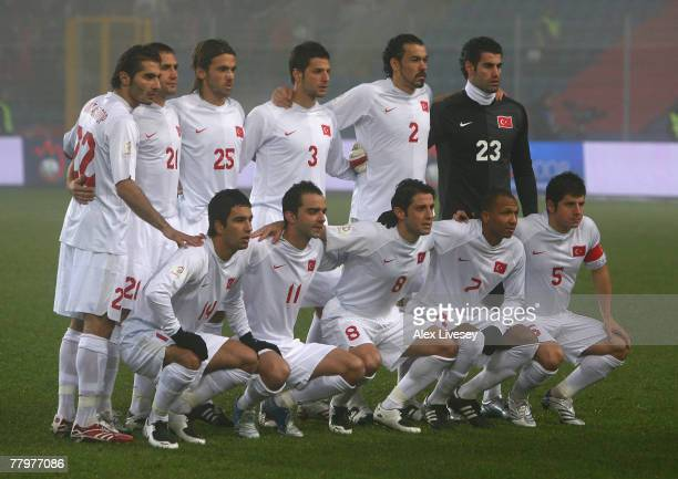 Turkey line up for a team group photo before the Euro2008 Group C Qualifier match between Norway and Turkey at the Ullevaal Stadium on November 17...