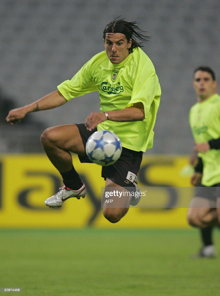 Liverpool?s Czech striker Milan Baros practices during a training session at Ataturk Olympic Stadium in Istanbul 24 May 2005 on the eve of the UEFA Champions League final football match between Liverpool of England and AC Milan of Italy.