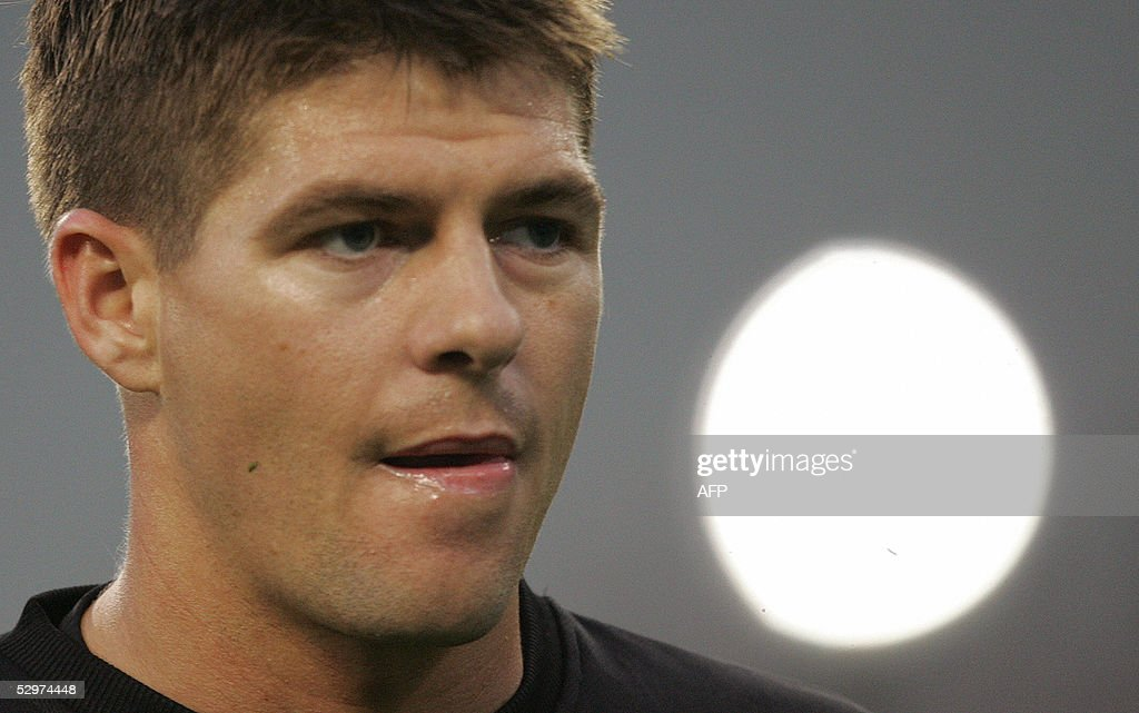 Liverpool?s England?s captain and midfielder Steven Gerrard concentrates during a training session at Ataturk Olympic Stadium in Istanbul 24 May 2005 on the eve of the UEFA Champions League final football match between Liverpool of England and AC Milan of Italy.