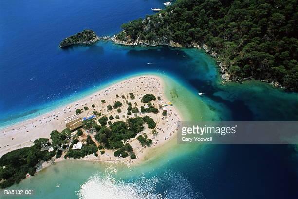 Turkey, Lycia, Fethiye, Oludeniz, (Dead/Calm Sea) lagoon, aerial