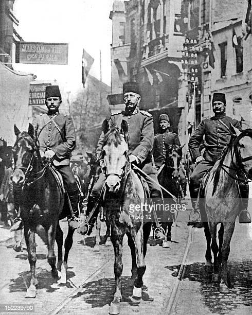 Turkey Mahmoud Chefket Pacha generalissimo of the Ottoman constitutional army riding through the streets of the Pera neighbourhood in Constantinople
