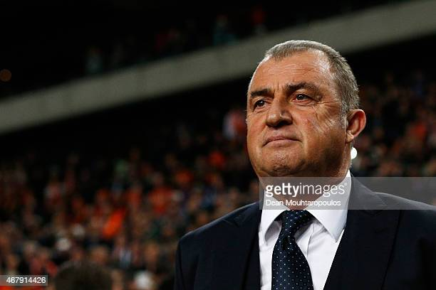 Turkey Manager / Head Coach Fatih Terim looks on during the UEFA EURO 2016 qualifier match bewteen the Netherlands and Turkey held at Amsterdam Arena...