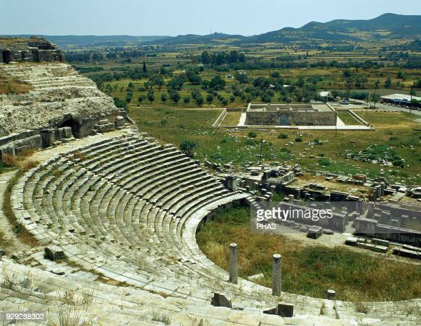 Turkey, Miletus. Ancient Greek city on the western coast of Anatolia. The Theater. Cavea and orchestra. Hellenistic and Roman Period. Ca. 300-133 BC.