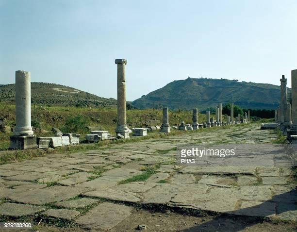 Turkey Pergamon Ancient Greek City in Anatolia The Via Sacra from Pergamon to Asclepeium