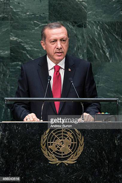 Turkey President Recep Tayyip Erdogùan speaks at the 69th United Nations General Assembly at United Nations Headquarters on September 24 2014 in New...