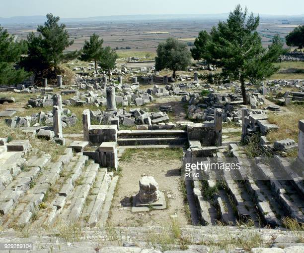 Turkey Priene Ancient Greek city of Ionia Bouleuterion 2nd century AD In the center an altar Ruins Anatolia