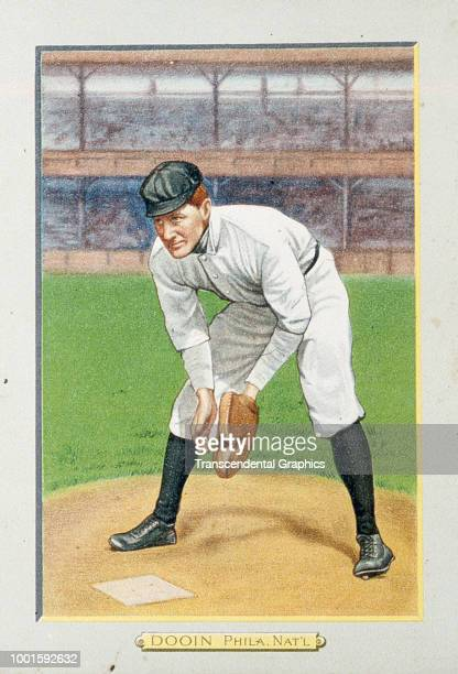 Turkey Red tobacco cabinet card features American baseball player Red Dooin catcher for the Philadelphia Phillies New York New York 1911