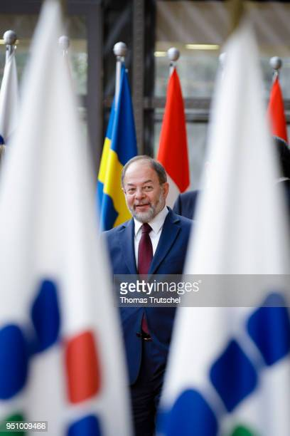 Turkey' s Deputy Prime Minister Recep Akdag arrives for a family photo at Brussels II Conference Supporting the future of Syria and the region on...