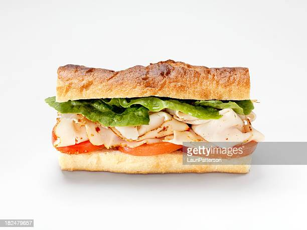 turkey sandwich on a baguette - baguette stock pictures, royalty-free photos & images