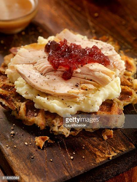 turkey sandwich on a stuffing waffel with mash potatoes - chicken and waffles stock photos and pictures