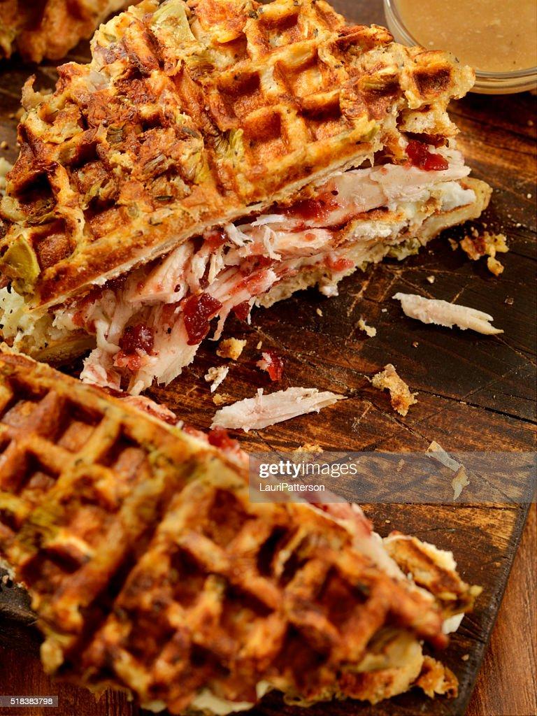 Turkey Sandwich on a Stuffing Waffel with Mash Potatoes : Stock Photo