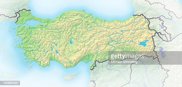 Turkey, shaded relief map