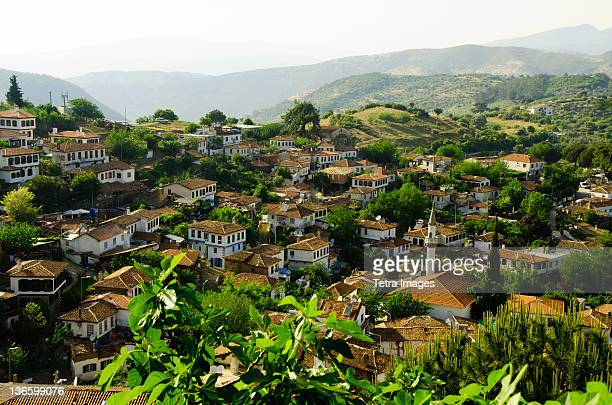 turkey, sirince, elevated view of village - izmir stock pictures, royalty-free photos & images