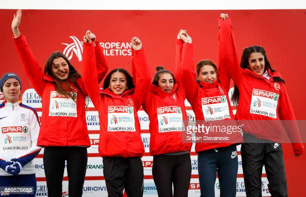 Turkey team celebrate their Bronze Medal during the U23 Women's award ceremony during the SPAR European Cross Country Championships on December 10...