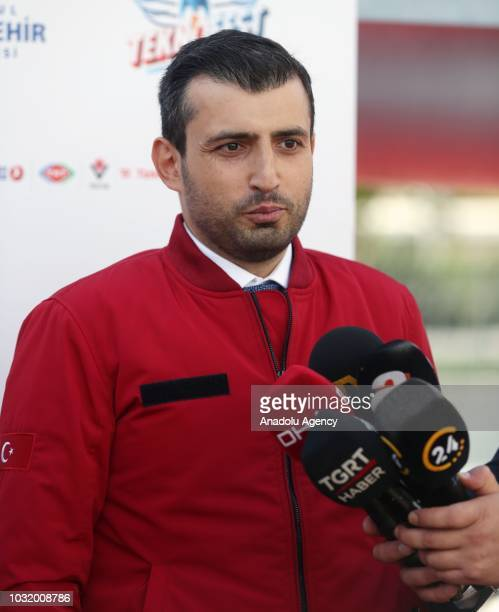 Turkey Technology Team Foundation Chairman of the Board of Trustees Selcuk Bayraktar answers the questions of press members at Aviation Museum during...