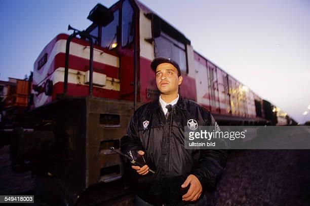 Turkey, Turkey, Turkey on its way to Europe. Nusaybin: Europe-Express at the border area Turkey-Syria. Security of the turkish railway company
