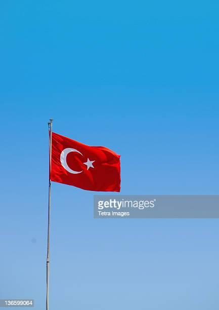 Turkey, Turkish flag against blue sky
