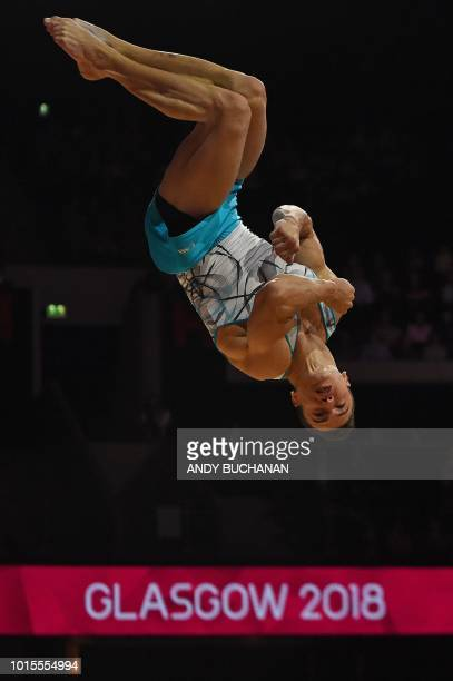 Turkey's Ahmet Onder competes in the men's floor final of the artistic gymnastics at the SSE Hydro during the 2018 European Championships in Glasgow...