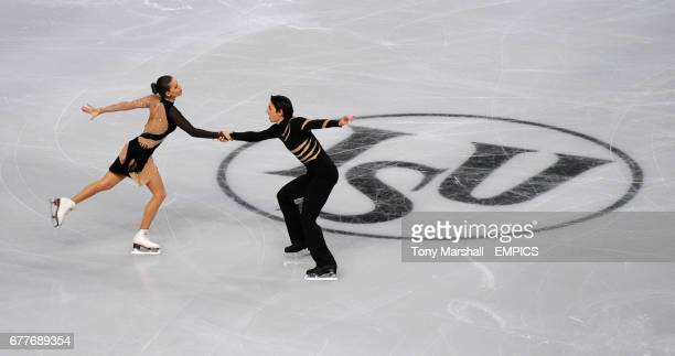 Turkey's Alisa Agafonova and Alper Ulca in action during the Preliminary Round of The Ice Dance Free Dance competition during the European Figure...