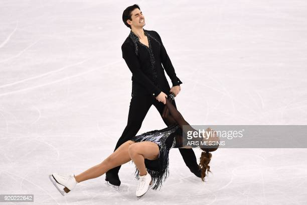TOPSHOT Turkey's Alisa Agafonova Turkey's Alper Ucar compete in the ice dance short dance of the figure skating event during the Pyeongchang 2018...