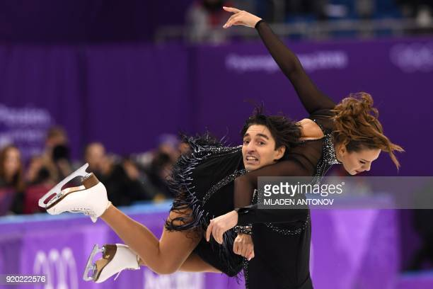 TOPSHOT Turkey's Alper Ucar and Turkey's Alisa Agafonova compete in the ice dance short dance of the figure skating event during the Pyeongchang 2018...