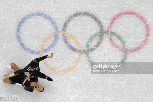 Turkey's Alper Ucar and Turkey's Alisa Agafonova compete in the ice dance free dance of the figure skating event during the Pyeongchang 2018 Winter...