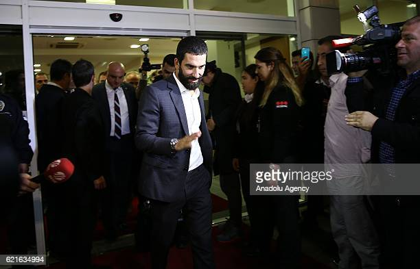 Turkey's Arda Turan is seen during the team's arrival in Antalya, Turkey on November 07 ahead of the UEFA 2018 World Cup Qualifying Group I match...