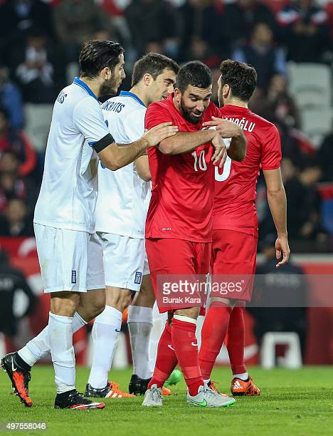 Turkey's Arda Turan reacths during an international friendly soccer match between Greece and Turkey November 17 2015 in Istanbul Turkey