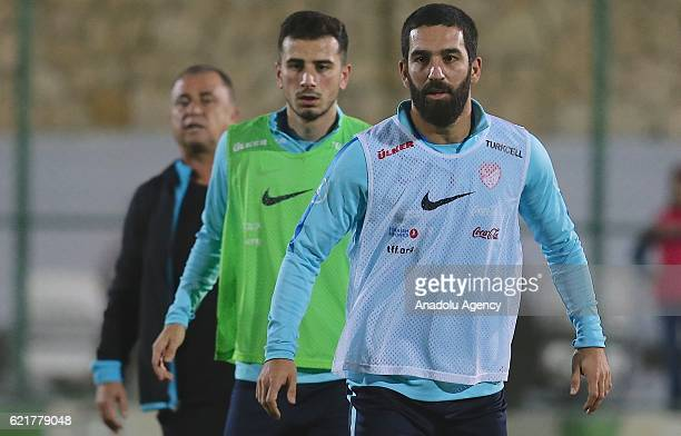 Turkey's Arda Turan takes part in during a training session of the Turkish National Football Team at Regnum Carya Golf & Spa Resort in Belek district...
