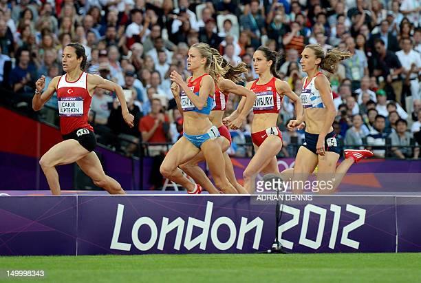 Turkey's Asli Cakir Russia's Ekaterina Kostetskaya US' Morgan Uceny US' Shannon Rowbury and Britain's Lisa Dobriskey compete in the women's 1500m...