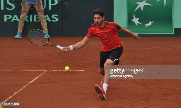 Turkey's Cem Ilkel and Altug Celikbilek are in action against Andreas Siljestrom and Johan Brunstrom of Sweden during 2017 Davis Cup Europe/Africa...