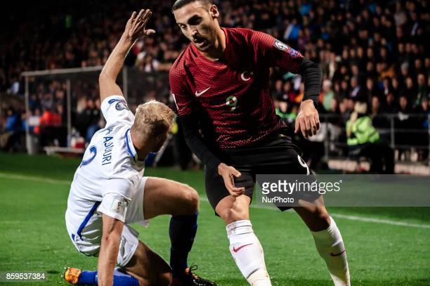 Turkey's Cenk Tosun in action during the FIFA World Cup 2018 qualification football match between Finland and Turkey in Turku Finland on October 9...